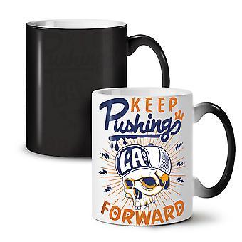 Keep Pushing NEW Black Colour Changing Tea Coffee Ceramic Mug 11 oz   Wellcoda