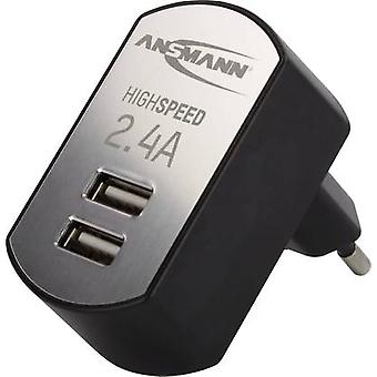 USB charger Mains socket Ansmann 1001-0031 Max. output current 2400 mA 2 x USB Auto-Detect