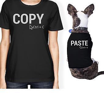 مالك الحيوانات الأليفة الصغيرة نسخ ولصق مطابقة هدية تتسابق القميص الأسود