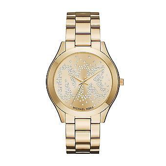 Michael Kors Slim Runway damskie damskie nadgarstka zegarek złoty pasek twarz Dial MK3590