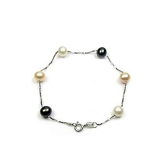 Silver 925/1000 woman bracelet and black culture of freshwater pearls, white and lavender