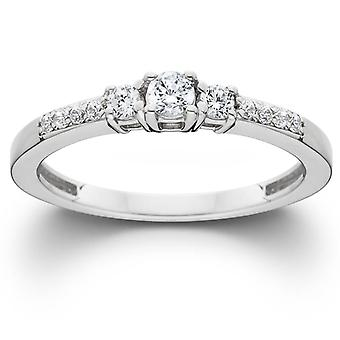 1/3ct Three Stone Round Diamond Engagement Ring 14K White Gold