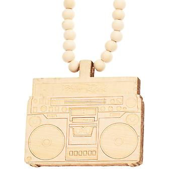 Wood style Bead Necklace - PARTY ROCK BOOM BOX beige