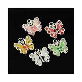 Packet 5 x Multicolour Enamel & Alloy 22mm Butterfly Charm/Pendant Mix ZX00520