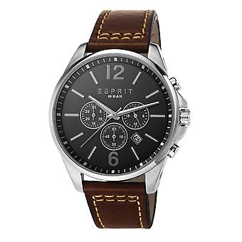Esprit Men's Watch GENUINE Brown Leather Band