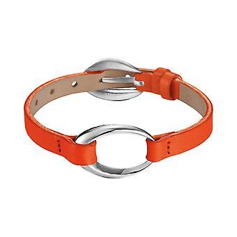 ESPRIT kvinnors läder armband rostfritt stål ovalitet orange ESBR11423F200