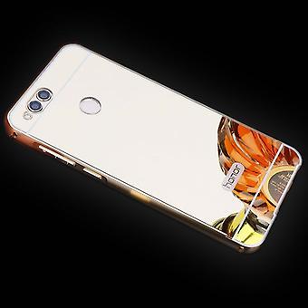 Зеркало / зеркало алюминиевых бампер 2 шт с золотой крышкой для Huawei честь 7 X чехол