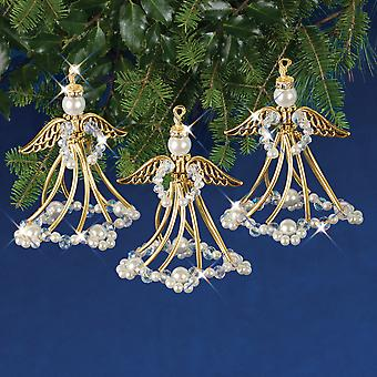 Holiday Beaded Ornament Kit-Golden Angels Makes 3