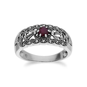 Gemondo Sterling Silver Ruby & Marcasite Art Nouveau Ring