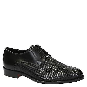 Men's derbies shoes in black woven leather
