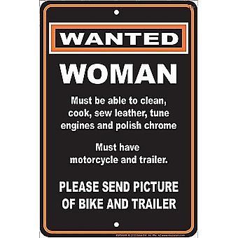 Gezocht: Vrouw grappig Aluminium Sign
