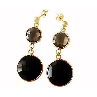 Gemshine Women's Earrings 925 Silver Plated Onyx Smoky Quartz Black Brown