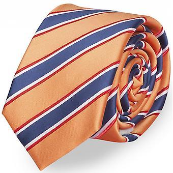 Schlips Krawatte Krawatten Binder 6cm orange blau weiß rot Streifen Fabio Farini