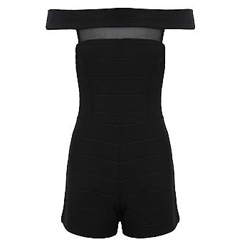 Ladies Mesh Insert Ribbed Bandaged Textured Off Shoulder Bodycon Playsuit