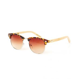 Colin Leslie Unisex Classic Sunglasses Tortoise Frame Bamboo Arms With Brown Lens