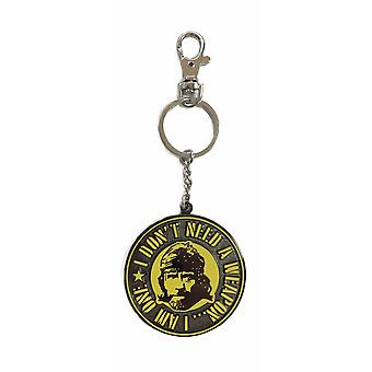 Chuck Norris Keychain missing printed face weapon in action, made of metal, including mini carabiner.