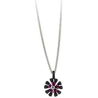Ti2 Titanium Black Back Ten Petal Flower Pendant - Candy Pink