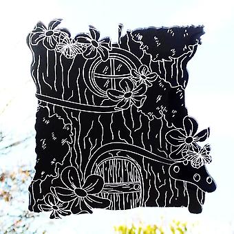 Fairy Tree House Engraved with Butterflies & Flowers Acrylic Mirror