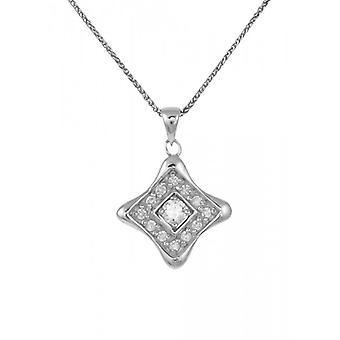 Cavendish francés plata y CZ diamante en forma de colgante con cadena de plata de 16-18