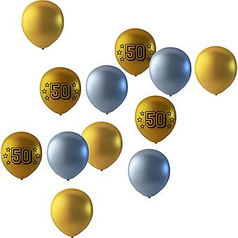 50 years of balloons mix gold/silver