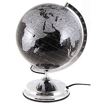 Globus med lys h38cm Jordglobslampa sort sølv lampe