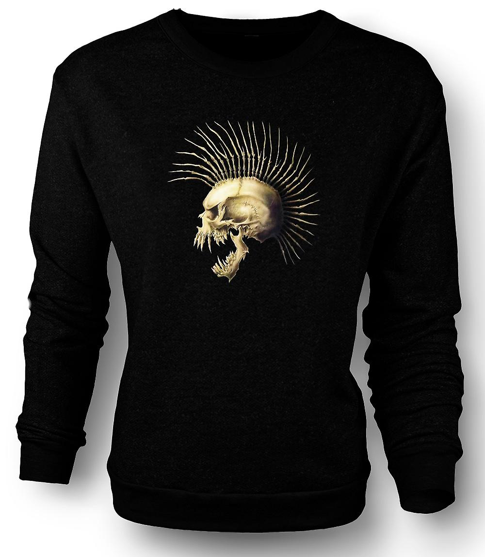 Mens Sweatshirt Punk skallen med Spines