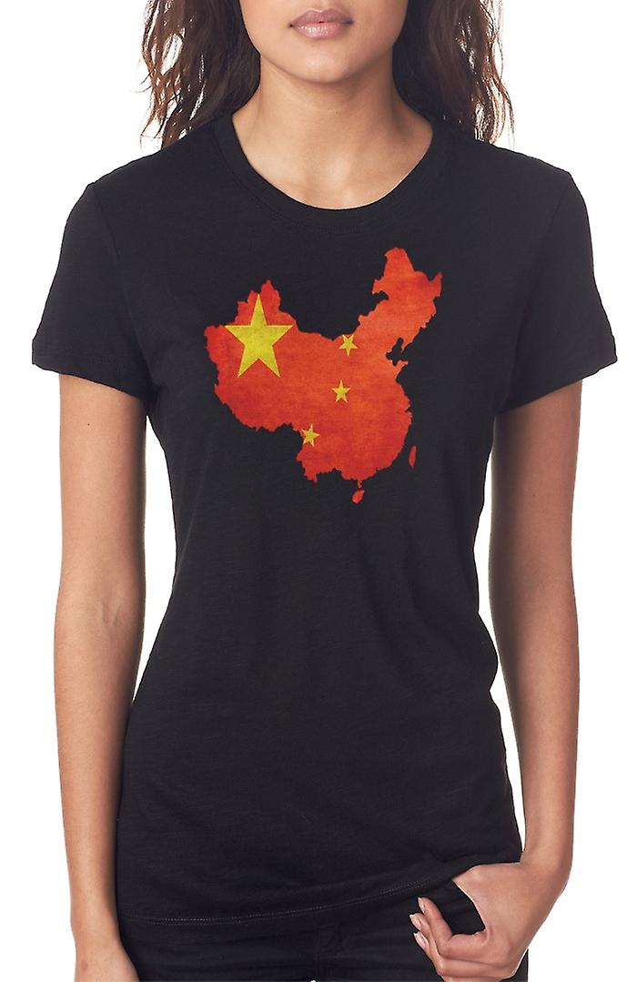 Chinese China Flag Map Ladies T Shirt