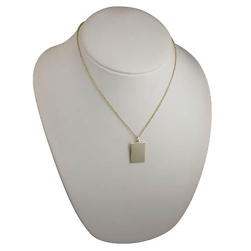 9ct Gold 25x18mm plain rectangular Disc with a belcher Chain 18 inches