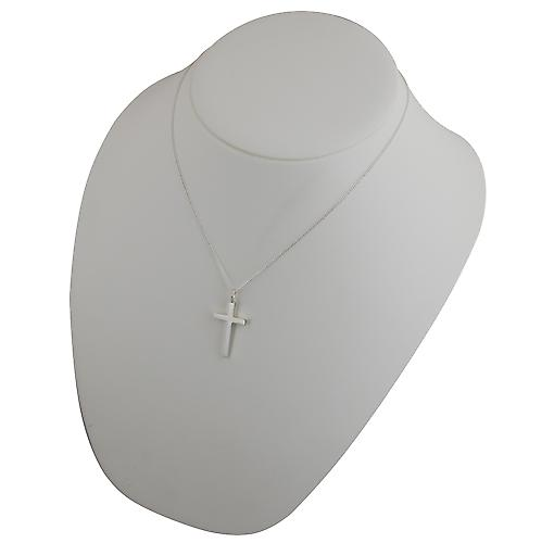 Silver 30x18mm plain solid block Cross with a curb Chain 18 inches