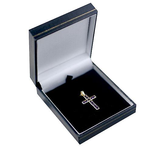 9ct Gold 25x16mm Apostel's Cross set met 12 Amethisten