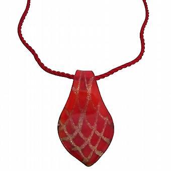 Verre de Murano rouge pendentif collier Bijoux cadeau de Noël de peintes à la main