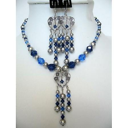 Swarovski Sapphire Crystals Pearls Vintage Necklace Set Custom Jewelry