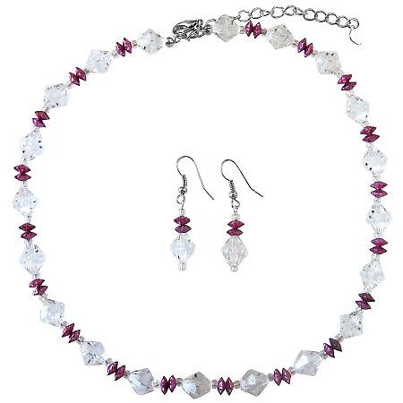 Daisy Spacer Jewelry Clear Crystals w/ Fuchsia Immitation Crystals Set