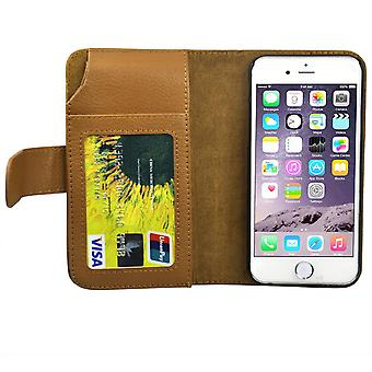 TRIXES iPhone 6 Leather Wallet Purse Stand Case in Brown