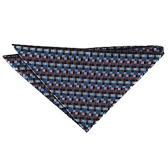 Black with Blue, Burgundy and Bronze Chequered Geometric Pocket Square