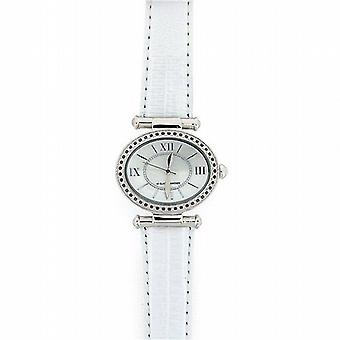Genuine Diamond Ladies Black Diamond  White Leather Strap Dress Watch GOTW99