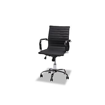Furnhouse Designo Office Chair Low Backrest, Black PU, Metal Base, 54x65x100 cm