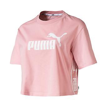 Puma Amplified Womens Ladies Sports Fashion Cropped T-Shirt Tee Pink