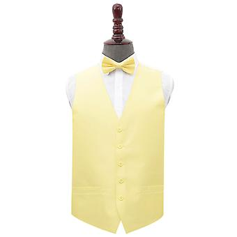 Lemon Yellow Shantung Wedding Waistcoat & Bow Tie Set