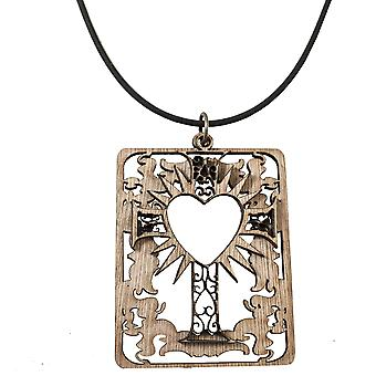 Heart and cross and floral necklace