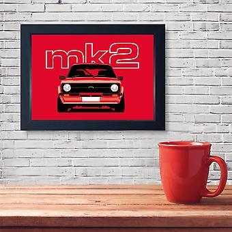 Red Mk2 Escort, Quality Framed Classic Car Print - Kitchen Bathroom Man Cave Art