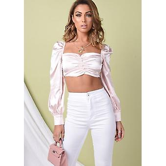 Satin Square Neck Puff Sleeve Crop Blouse Pink