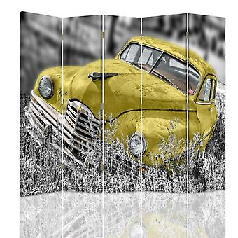 Room Divider, 5 Panels, Double-Sided, 360 ° Rotatable, Canvas, Yellow Car In The Grass