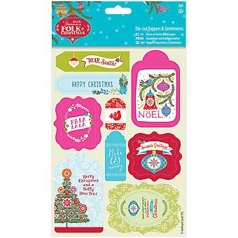 Papermania Folk Christmas Die-Cut Toppers/Sentiments 2/Pkg-Linen Finish PM157953