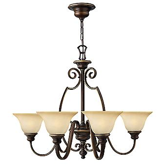 Cello Traditional 6 Arm Chandelier with Cello Shaped Scrolls