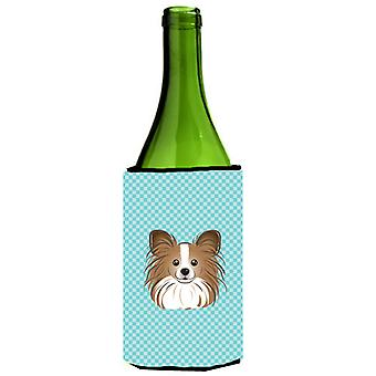Checkerboard Blue Papillon Wine Bottle Beverage Insulator Hugger BB1186LITERK