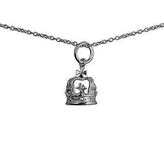 Silver 9x8mm Royal Crown Pendant with a rolo Chain 14 inches Only Suitable for Children