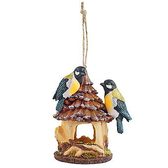 Rustic Hanging Resin Garden Bird House Nesting Box with Blue Birds