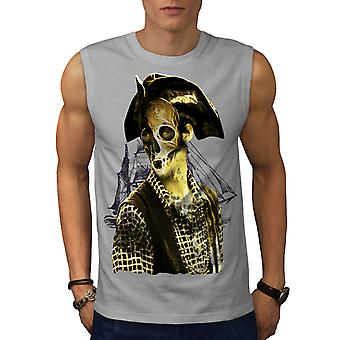 Pirate Metal Death Skull Men Grey Sleeveless T-shirt | Wellcoda