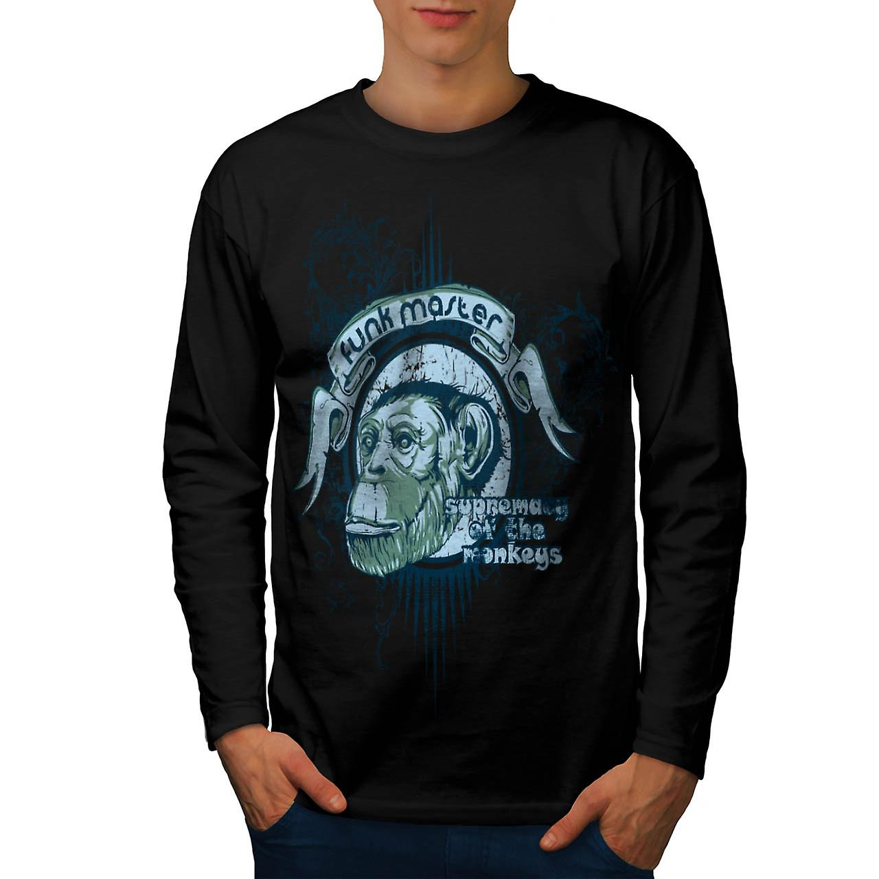Funk Master Monkey Supreme Ape Men Black Long Sleeve T-shirt | Wellcoda